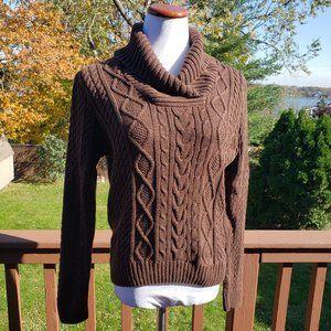 JEANNE PIERRE Brown Cotton Shawl Sweater Sz XL